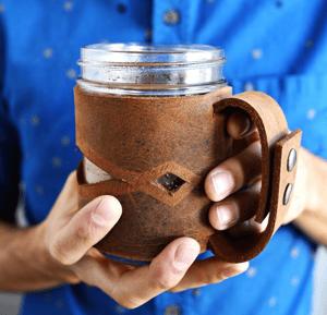 Leather Mason Jar Sleeve | 10 DIY Holiday Gifts