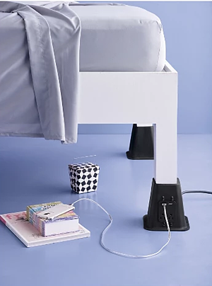 USB Charging Bed Risers | 15 Ways to Decorate Your Dorm Without Breaking the Bank