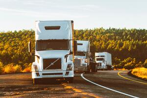 white-volvo-semi-truck-on-side-of-road-2199293
