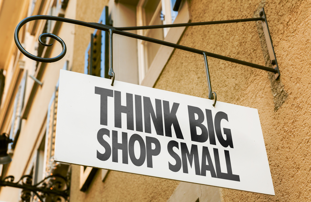 Think Big Shop Small sign in a conceptual image-1